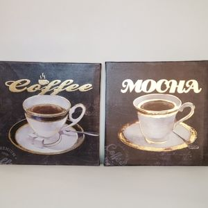☕ SET OF 2 COFFEE WRAPPED CANVAS WALL ART